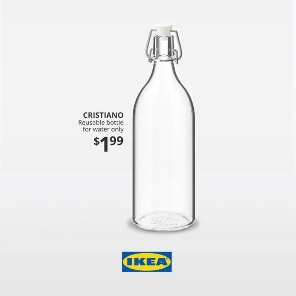 Cristiano. Reusable bottle for water only. Digital advertisement created for IKEA